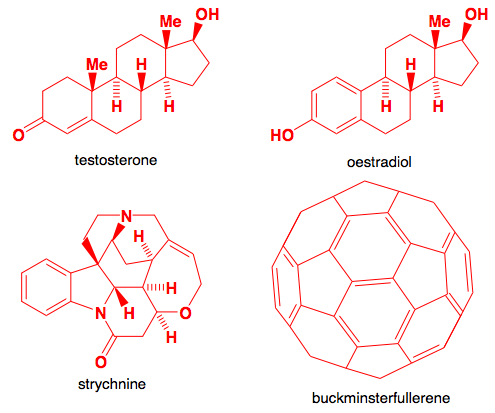 Testosterone, Oestradiol. Strychnine and Buckminsterfullerene